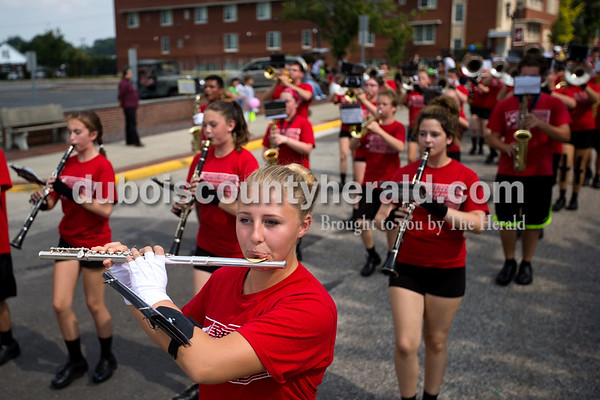 Southridge High School senior Katelyn Neukam marched with the band during the Herbstfest parade on Sunday afternoon in Huntingburg.  Alisha Jucevic/The Herald