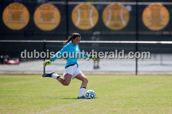 Sarah Shaw/The Herald Jasper's Chloe Smith took a goal kick during the game against Gibson Southern in Jasper on Saturday. Jasper lost 4-2.