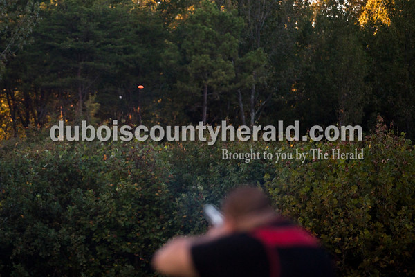 Keith Fleck of Dubois shot clay targets during the fourth week of Jasper Rifle and Gun Club's fall trap league on Tuesday evening in Jasper.    Alisha Jucevic/The Herald