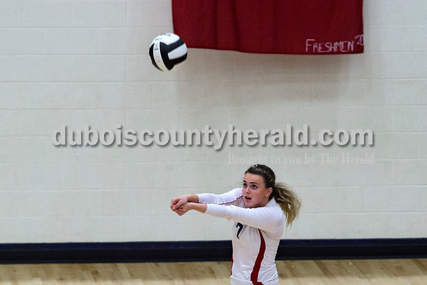 Heritage Hills' Melissa Bell bumped the ball during Monday night's game against Forest Park in Lincoln City. The Patriots won 25-11, 25-13, 25-8.  Alisha Jucevic/The Herald