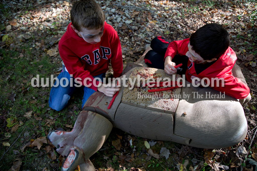 Sarah Shaw/The Herald<br /> Dressed as zombies, Max Rasche of Huntingburg, 12, and Austin Barkley of Huntingburg, 13, pretended to eat the guts on a deer while trying to scare runners during the Haunted Huntingburg Zombie 5K at Niehaus Park in Huntingburg on Saturday.