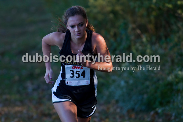 Jasper's Tara Cassidy started the first lap of the October 8th cross country sectional at Vincennes University Jasper Campus. Cassidy placed second in the race and the Jasper Wildcats placed first in the sectional.  Alisha Jucevic/The Herald
