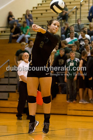 Forest Park's Kendra Schipp bumped the ball during Thursday's 2A sectional volleyball game in Ferdinand. Tell City defeated Forest Park 3-1. Sarah Ann Jump/The Herald