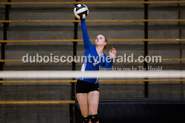 Sarah Shaw/The Herald Northeast Dubois' Adi Denu served the ball during Thursday's Class 1A sectional semifinal against Cannelton in French Lick. Northeast Dubois won 3-0.