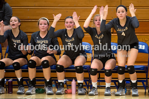 Jasper's Libby Bell, left, Riley Merder, Maddie Edwards, Rylee Hedinger and Mariah Seifert reacted to an unfavorable call by an official during Tuesday's 3A regional championship volleyball match in Evansville. Evansville Memorial defeated Jasper in four sets. Sarah Ann Jump/The Herald