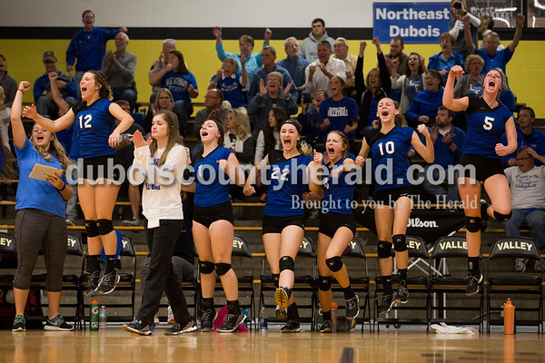 The Northeast Dubois volleyball team celebrated winning a set during Saturday's sectional semi-final volleyball match in French Lick. Northeast Dubois defeated Springs Valley 3-0. Sarah Ann Jump/The Herald