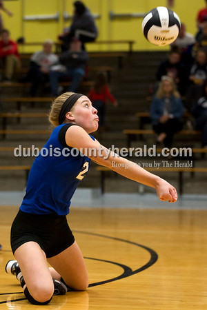 Northeast Dubois' Clare Mangin dug the ball during Saturday's sectional semi-final volleyball match in French Lick. Northeast Dubois defeated Springs Valley 3-0. Sarah Ann Jump/The Herald