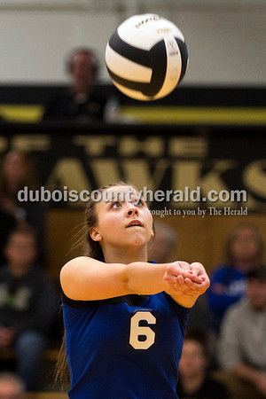 Northeast Dubois' Kendyl Heeke bumped the ball during Saturday's sectional semi-final volleyball match in French Lick. Northeast Dubois defeated Springs Valley 3-0. Sarah Ann Jump/The Herald