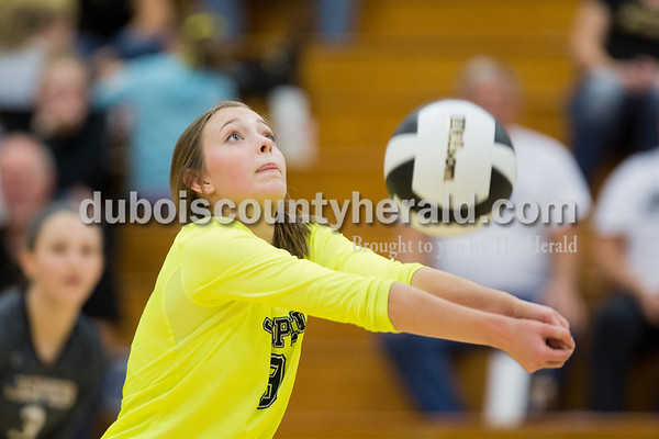 Jasper's Katey Bell bumped the ball during Tuesday's 3A regional championship volleyball match in Evansville. Evansville Memorial defeated Jasper in four sets. Sarah Ann Jump/The Herald
