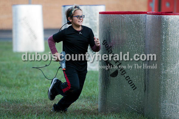 Sarah Ann Jump/The Herald Tyler Reisz of Huntingburg, 11, played laser tag at Teen Outback in Huntingburg on Saturday.