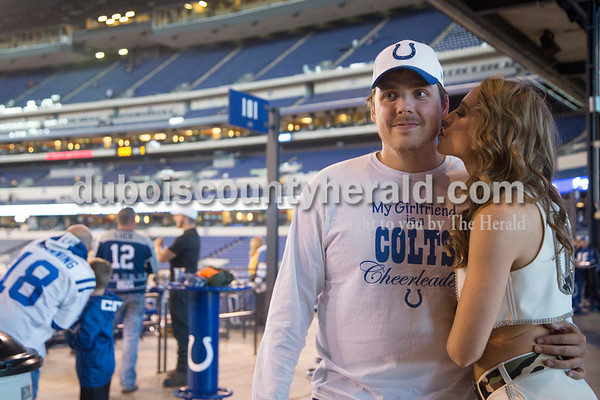 Mallory Humbert posed with boyfriend Pete Wilson of Jasper before the Nov. 20 Indianapolis Colts game against the Tennessee Titans at Lucas Oil Stadium in Indianapolis. Pete and Mallory's family have season tickets and attend all of the games.