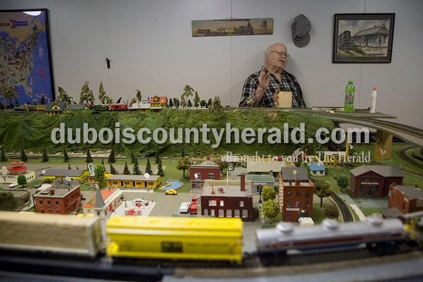 Volunteer John Guthrie of Velpen worked in the Train Room at the Dubois County Museum in Jasper on Tuesday. Guthrie, a train hobbyist, has been volunteering at the museum for nearly 10 years.