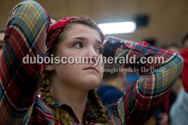 Heritage Hills High School senior Sydney Scherry watched Saturday's game against Northeast Dubois in Lincoln City. The Patriots defeated the Jeeps 43-36.  Sarah Shaw/The Herald