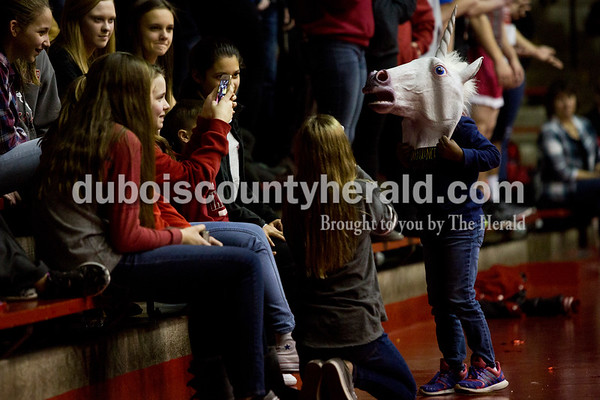 Blondine Welp of Huntingburg, 5, posed for pictures while wearing a unicorn mask during Friday's basketball game in Huntingburg. Southridge defeated Tecumseh 52-38. Tegan Johnston/The Herald