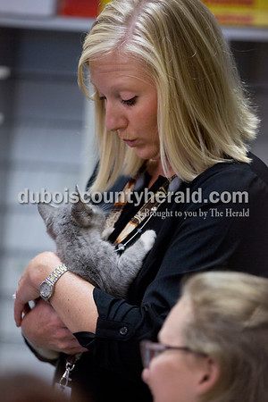 Forest Park Junior-Senior High School principal Jamie Pund held Stella, a kitten being cared for in the animal sciences class, on Nov. 3. Pund said she loves ducking into classrooms and seeing what students are working on.