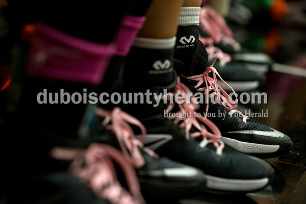 The Jasper Wildcats wore pink shoe laces and socks in support of breast cancer awareness night at Thursday night's game against Forest Park in Jasper. The Wildcats won 73-70 in overtime.  Alisha Jucevic/The Herald
