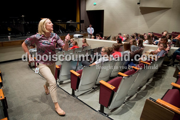 Forest Park Junior-Senior High School principal Jamie Pund sprinted up the aisle of the auditorium during a meeting with the freshman students on the first day of school on Aug. 10. Jamie went over expectations of the year and told students she didn't want them running to the busses or the cars as soon as school ended.