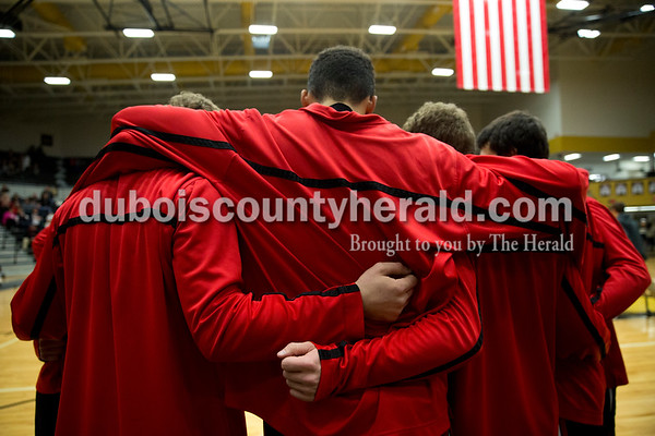 The Southridge basketball team huddled before Saturday's basketball game in Jasper. Jasper defeated Southridge 57-52. Sarah Ann Jump/The Herald