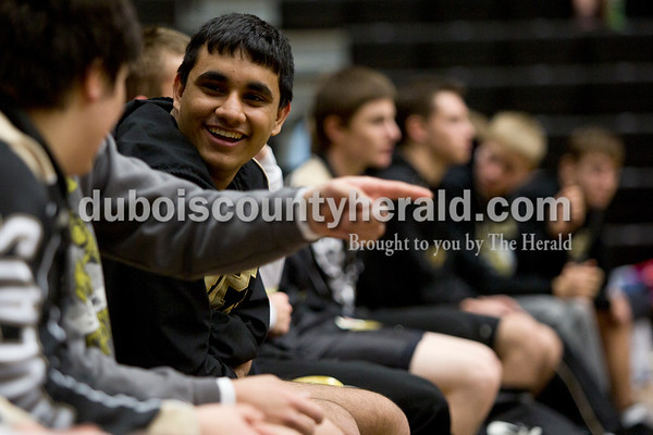 Jasper's Abhay Rathee smiled while cheering for his teammates during Saturday's wrestling match at Jasper Quad Duals in Jasper. Tegan Johnston/The Herald