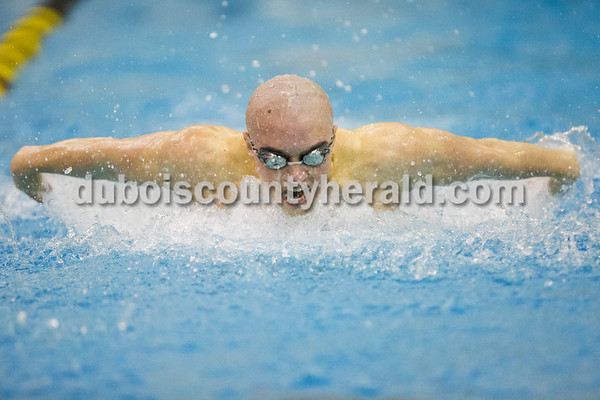 Jasper's Nick Pieper competed in the 100-yard butterfly during Saturday's boys swimming sectional in Jasper. Sarah Ann Jump/The Herald