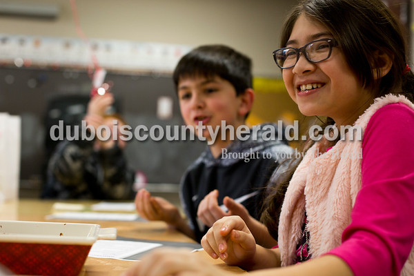 Tegan Johnston/The Herald Huntingburg Elementary School fourth-grader Breezy Serrano ate some of the no bake cookies she helped make during a RIDGE cooking class at Huntingburg Elementary School Tuesday afternoon in Huntingburg. The after-school program offered a variety of clubs that alternate every 3 and a half weeks. Currently, students can choose between cooking, video taping, origami, art and reading clubs.