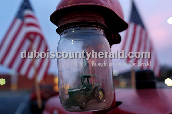 A replica tractor sat  in the catch can on Southridge High School freshman Owen Kinker's tractor Tuesday morning at the high school. Dave Weatherwax/The Herald