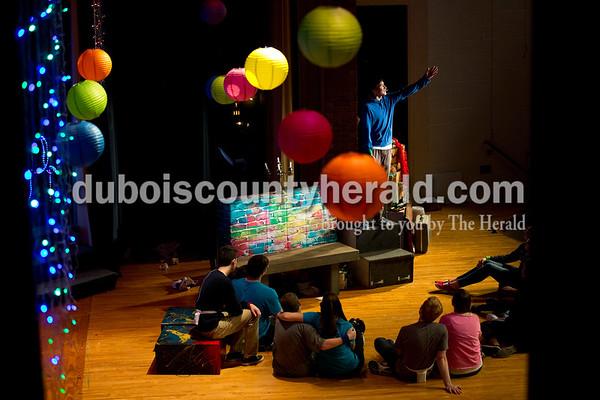 "Southridge High School junior Jonnel Miranda sang during a ""Godspell"" rehearsal at the school in Huntingburg on Tuesday. Sarah Ann Jump/The Herald"