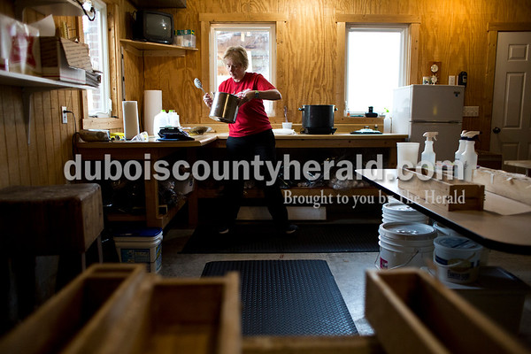 Sarah Ann Jump/The Herald Patty Ruhe made a batch of chocolate peppermint soap in her home workshop near Maltersville on Monday.