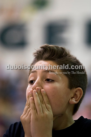 Tenth Street Elementary fifth-grader Nicolas Lopez waited to hear the correct answer to an equation during the 21st Annual Indiana Academic M.A.T.H. Bowl at Cedar Crest Intermediate School on Thursday.    Alisha Jucevic/The Herald
