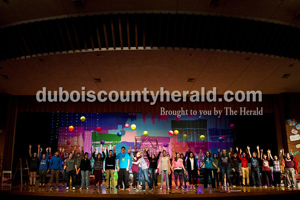 """The cast performed during a """"Godspell"""" rehearsal at Southridge High School in Huntingburg on Tuesday. Sarah Ann Jump/The Herald"""