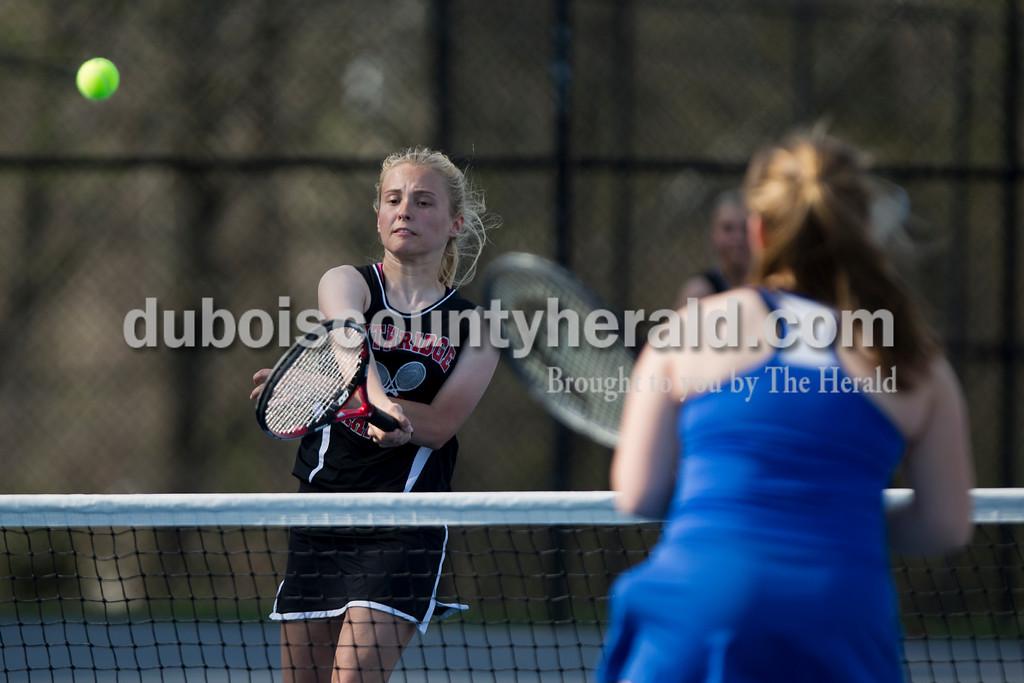 Southridge's Katlyn Brewer returned the ball during Monday's tennis match in Dubois. Southridge defeated Northeast Dubois 3-2. Sarah Ann Jump/The Herald
