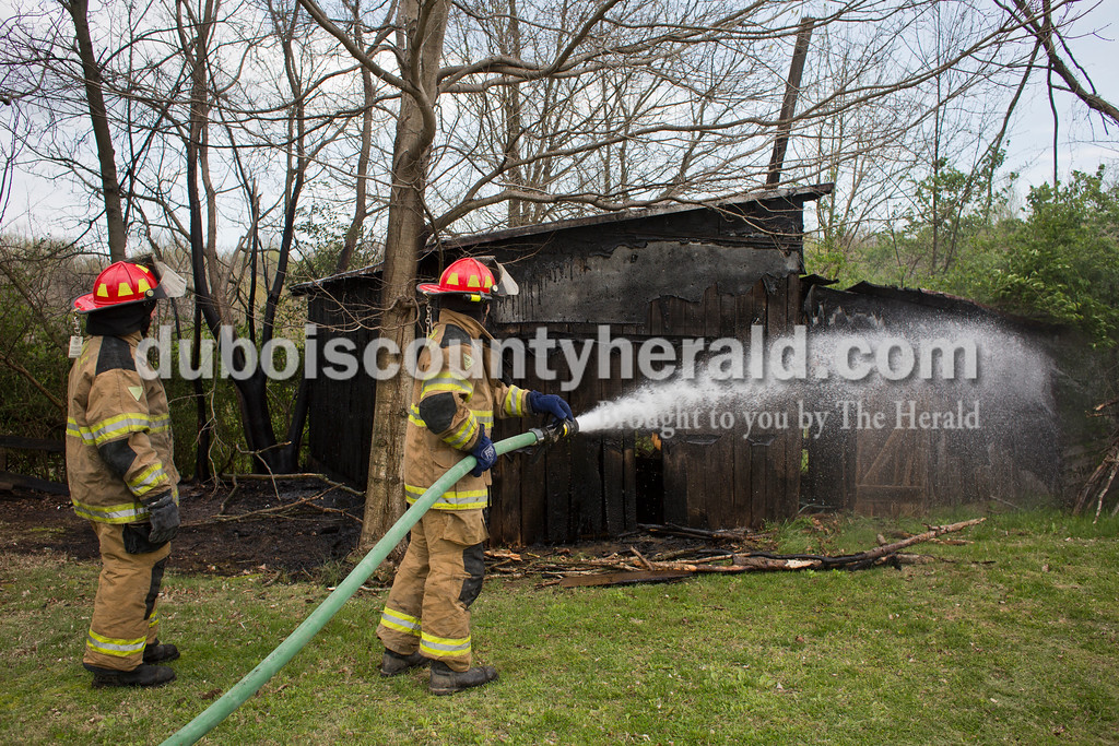 Sarah Ann Jump/The Herald<br /> The Haysville Volunteer Fire Department responded to out building fire at 6276 US 231 in Haysville on Monday afternoon.