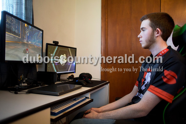 Sarah Ann Jump/The Herald Braden Schenetzki of Jasper played Rocket League at his Jasper home on Thursday, April 13.