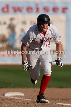 Southridge's Jayce Harter sprinted to home base during Wednesday's game in Huntingburg. Wood Memorial defeated Southridge 11-3. Sarah Ann Jump/The Herald
