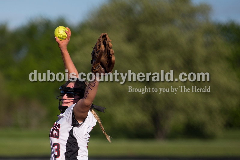 Southridge's Bre Wilkey pitched during Monday's softball game in Huntingburg. Northeast Dubois defeated Southridge 14-9. Sarah Ann Jump/The Herald