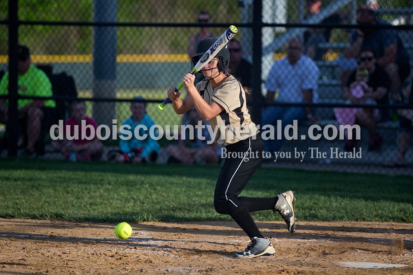Jasper's Lexie Jerger bunted the ball during Tuesday night's game against South Spencer in Jasper. The Wildcats lost 5-3.   Alisha Jucevic/The Herald