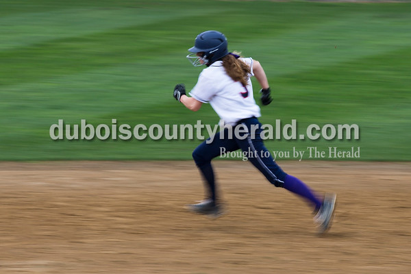 Heritage Hills' Emma Eubank ran to second base during Friday's softball game in Lincoln City. Heritage Hills defeated Southridge 10-5. Sarah Ann Jump/The Herald
