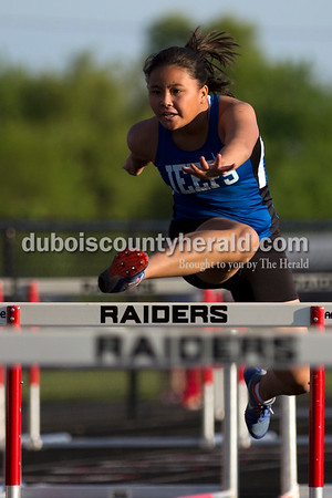 Northeast Dubois' Susanna Fravell competed in the 100-meter hurdles during Thursday's Southridge Invitational in Huntingburg. Fravell placed third. Sarah Ann Jump/The Herald