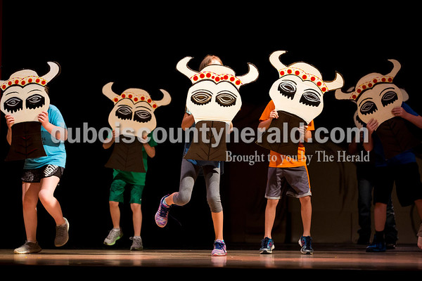 "Sarah Ann Jump/The Herald North Spencer School Corporation elementary school students portrayed a herd of wildebeest during Tuesday's ""Lion King Jr."" play rehearsal at Heritage Hills High School in Lincoln City."