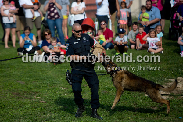 Tegan Johnston / The Herald Indiana State Police Officer Robbie Lambert performed a demonstration with his dual purpose patrol dog, K-9 Diesel, during the Kids' Fest on Wednesday at Jaycee Park in Jasper. The Dubois County Department of Child Services partnered with other local child advocacy agencies to raise awareness for the prevention of child abuse. Families enjoyed food, games and other activities while learning about child abuse prevention services.