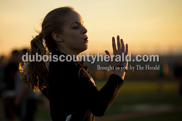 Southridge's Anna Altstadt crossed the finish line of the 400-meter dash during Thursday's Southridge Invitational in Huntingburg. Sarah Ann Jump/The Herald