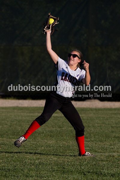 Southridge's Peyton Nalley caught a ball in the outfield during Monday's softball game in Huntingburg. Northeast Dubois defeated Southridge 14-9. Sarah Ann Jump/The Herald