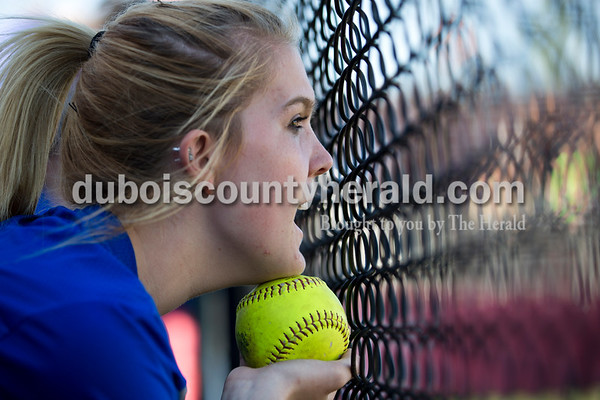 Northeast Dubois' Bethany Dodd cheered on her teammates from the dugout during Monday's softball game in Huntingburg. Northeast Dubois defeated Southridge 14-9. Sarah Ann Jump/The Herald