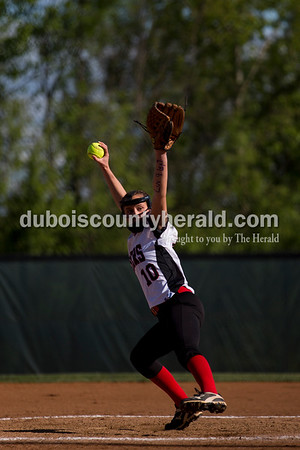 Southridge's Boo Polley pitched during Monday's softball game in Huntingburg. Northeast Dubois defeated Southridge 14-9. Sarah Ann Jump/The Herald