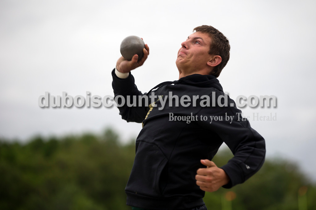 Forest Park's Zach Cline competed in the shot put during Monday night's track meet at Southridge High School in Huntingburg.  <br /> Alisha Jucevic/The Herald