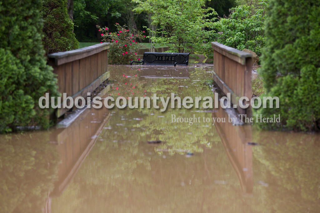 Sarah Ann Jump/The Herald<br /> A submerged section of the Riverwalk in Jasper on Sunday afternoon.