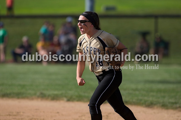 Jasper's second baseman Grace Werner reacted after Olivia Knies struck out a batter to end the inning during Monday's Class 3A softball sectional opener against Pike Central in Jasper. The Wildcats defeated Pike Central 3-0. Dave Weatherwax/The Herald