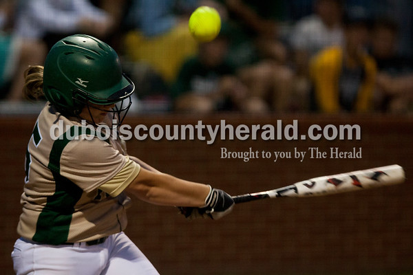 Tegan Johnston/The Herald Forest Park's Lauren Roos hit the ball during Tuesday's IHSAA Class 2A sectional game in Bretzville. Forest Park lost to North Posey in the seventh inning 1-0.