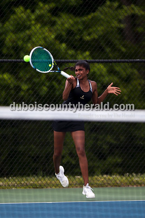 Tegan Johnston/The Herald Jasper's Suchitraa Bandaru returned the ball while competing in the No. 2 singles match during the semistate tennis match on Saturday in Jasper. The Wildcats dumped Evansville Memorial 4-1 for semistate title - it's the 3rd straight state finals berth for the Wildcats.