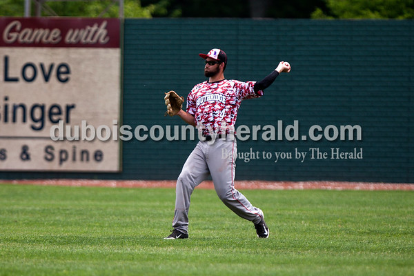Tegan Johnston/The Herald Southridge's Nolan O'Brien threw in a ball from the outfield during Saturday's game at League Stadium in Huntingburg.